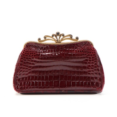 Jacomo Paris Embellished Burgundy Crocodile Hand Clutch, Mid-20th Century