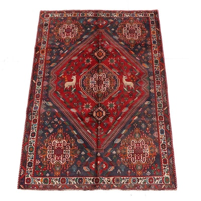 6'0 x 9'1 Hand-Knotted Persian Qashqai Wool Rug