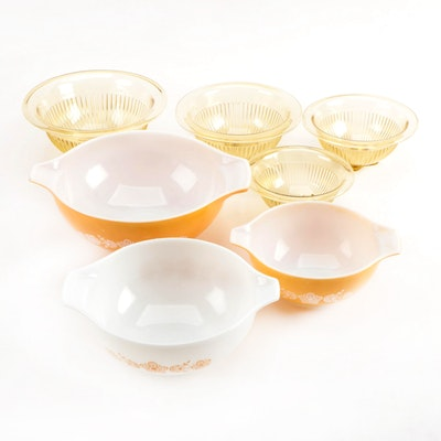 "Pyrex ""Butterfly Gold"" Cinderella Mixing Bowls and Yellow Glass Mixing Bowls"