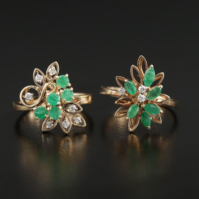 14K Emerald and Diamond Rings Featuring Floral Designs