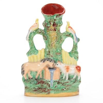 Staffordshire Porcelain Spill Vase, Late 19th Century
