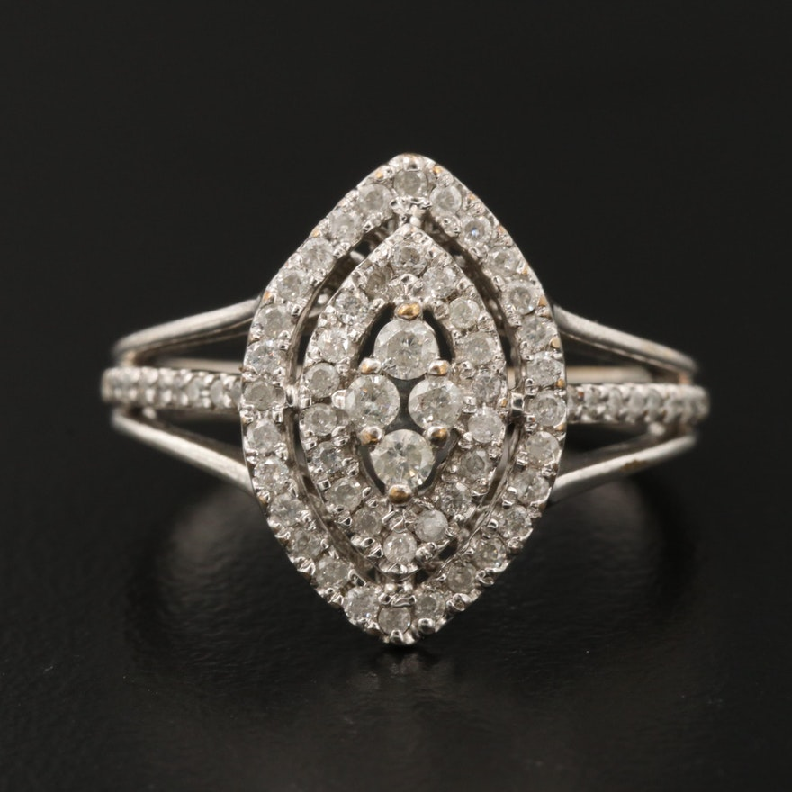 Sterling Silver Diamond Double Halo Ring