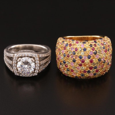 Sterling Silver Cubic Zirconia and Fancy Sapphire Rings Featuring A. Jaffee