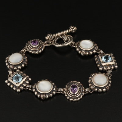 Sterling Silver Amethyst, Topaz and Mother Of Pearl Bracelet