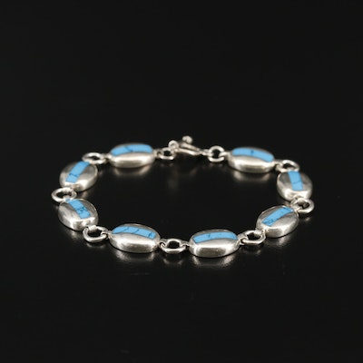 Sterling Silver Reconstructed Turquoise Bracelet