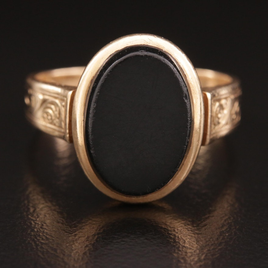 Victorian 14K Black Onyx Mourning Ring