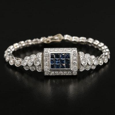 Platinum 3.50 CTW Diamond and Sapphire Bracelet