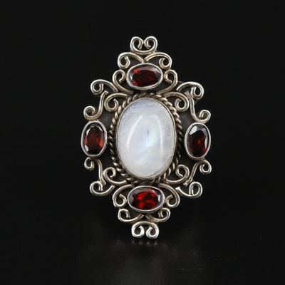 Sterling Silver Moonstone and Garnet Ring
