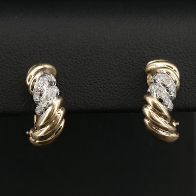 14K Diamond J-Hoop Clip-On Earrings