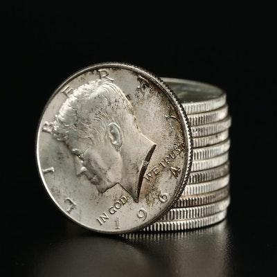 Twelve 1964 Kennedy Silver Half Dollars
