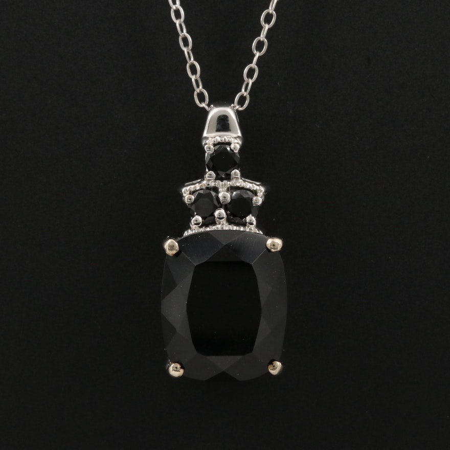 Sterling Silver Tourmaline and Spinal Pendant Necklace
