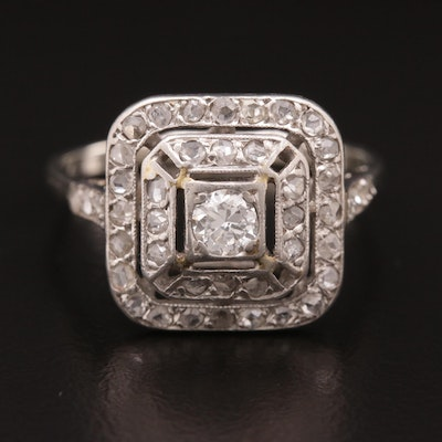 14K White Gold, Platinum and Diamond ring