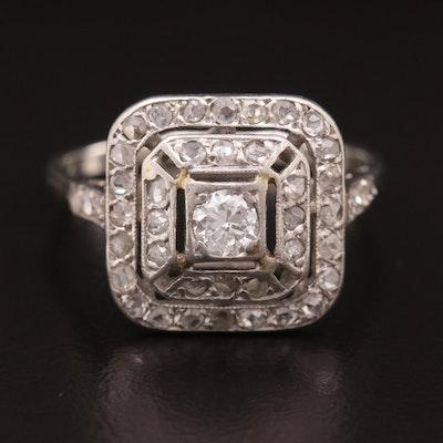 14K White Gold, Platinum and Diamond ring