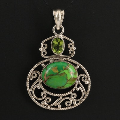 Sterling Silver Stabilized Turquoise and Peridot Pendant