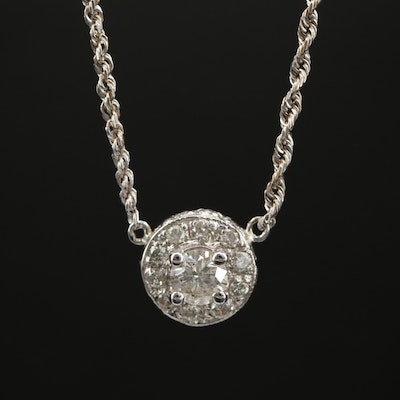 14K Diamond Necklace with 18K Center Pendant