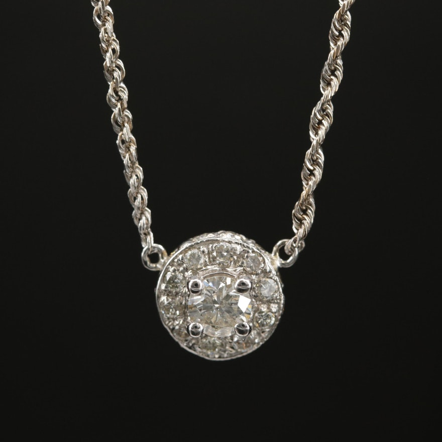 14K Diamond Necklace with 18K Center Pendant