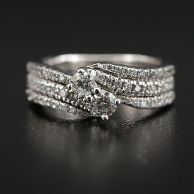 14K 0.73 CTW Diamond Ring Featuring Bypass Design