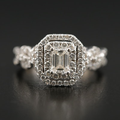 14K Gold 1.50 CTW Diamond Double Halo Ring