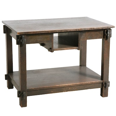Arts and Crafts Style Oak Library Table, Mid-20th Century