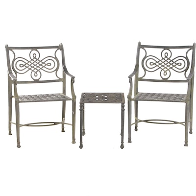 Aluminum Outdoor Patio Arm Chairs and Table Set, Late 20th Century