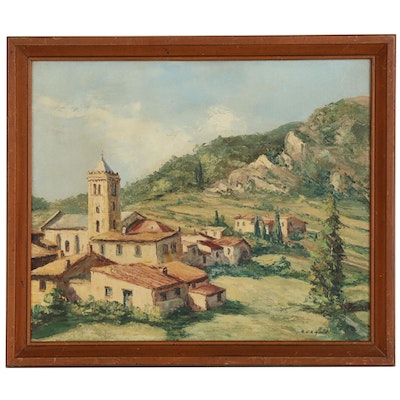 """R. U. Rinaldi Landscape Oil Painting """"Coustouges"""", Early to Mid 20th Century"""
