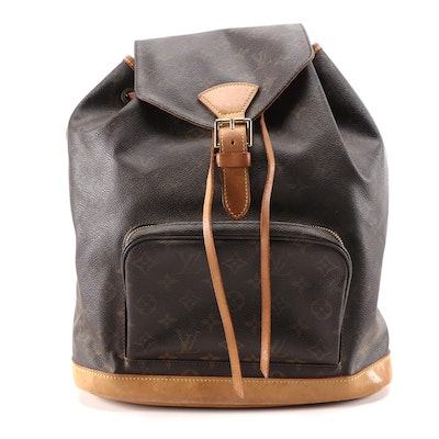 Louis Vuitton Montsouris GM Backpack Purse in Monogram Canvas and Leather
