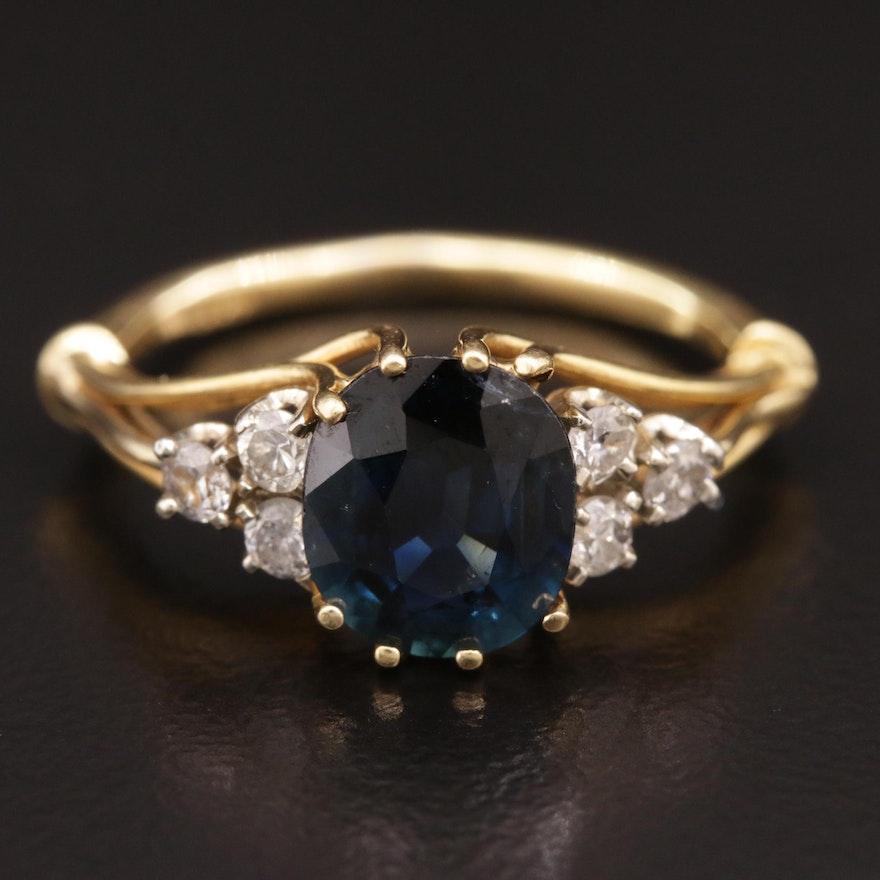 18K Blue Sapphire and Diamond Ring