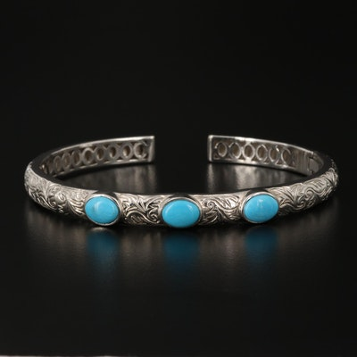 Sterling Silver Turquoise Motif Bracelet