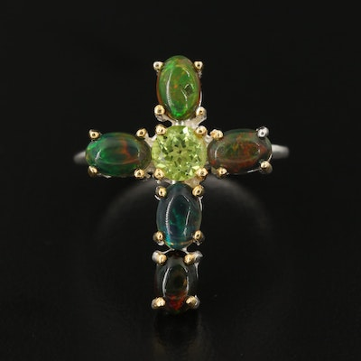 Sterling Silver Opal and Peridot Cross Ring
