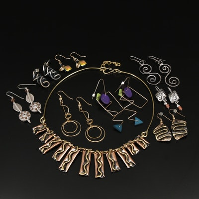 Earring Assortment and Necklace Featuring Silpada