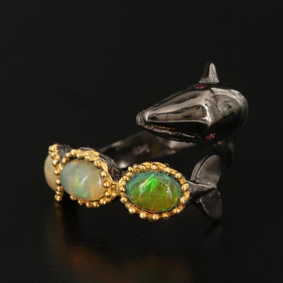 Sterling Silver Opal Whale Ring