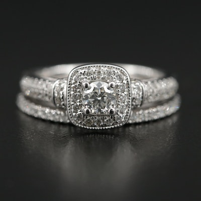 Vera Wang 14K White Gold Diamond Ring and Band Set