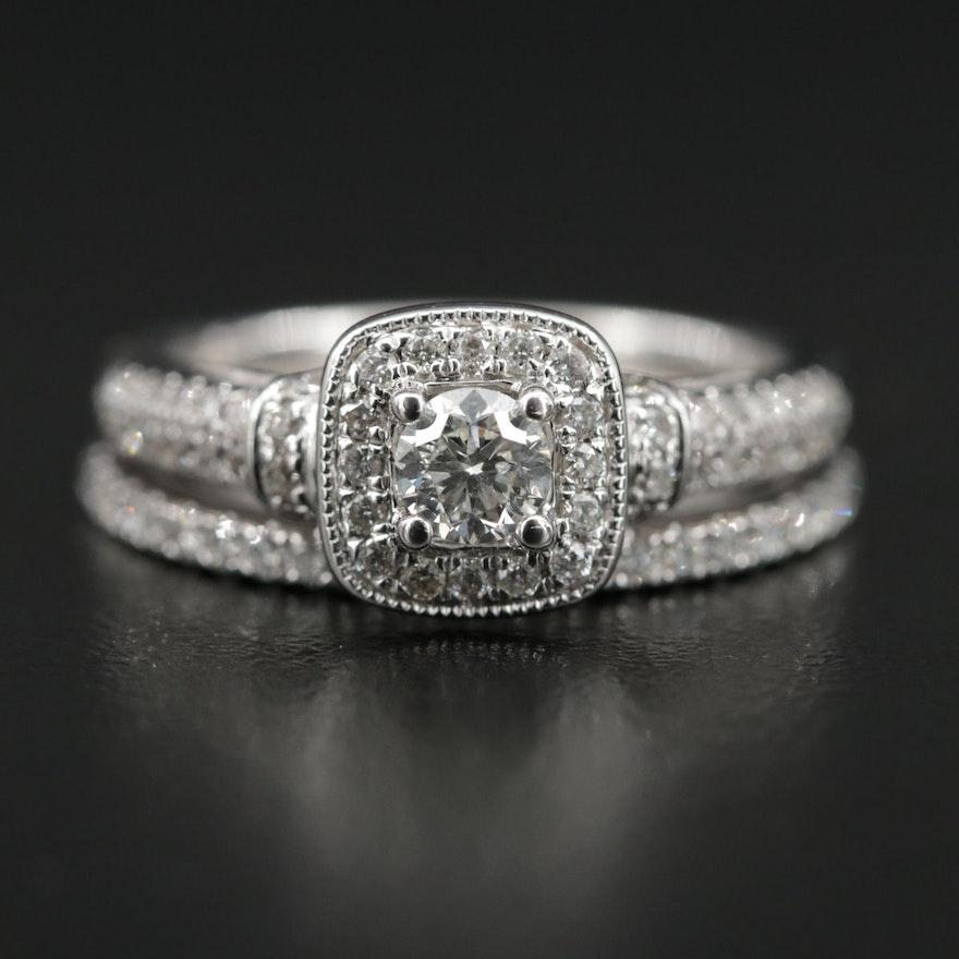 Vera Wang 14K White Gold Diamond Ring and Band Set