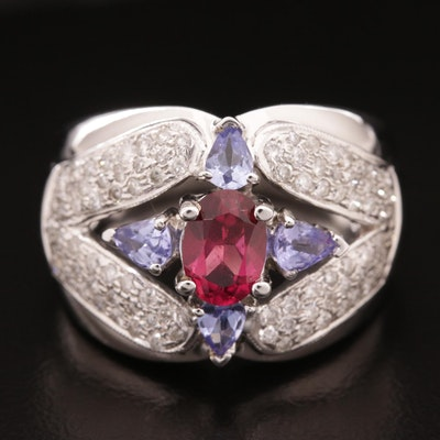 14K Pink Tourmaline, Tanzanite, and 0.75 CTW Diamond Ring With Openwork Design