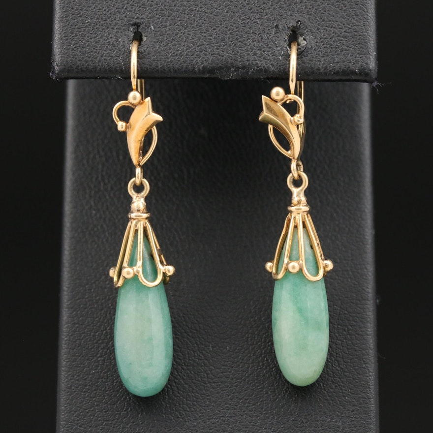 14K Jadeite Dangle Earrings