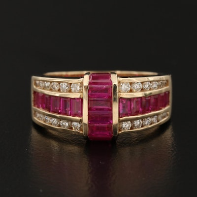 EFFY 14K Gold Ruby and Diamond Ring