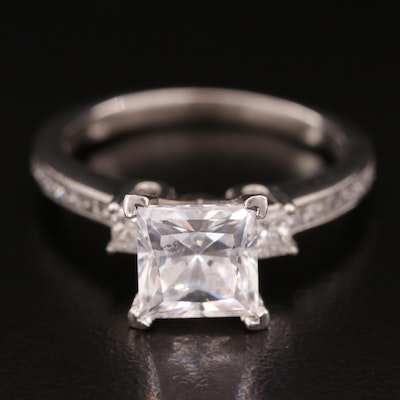 Palladium Diamond Semi-Mount Ring with Cubic Zirconia Center