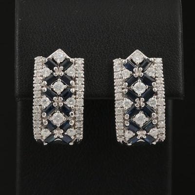 14K Sapphire and 1.84 CTW Diamond J-Hoop Earrings