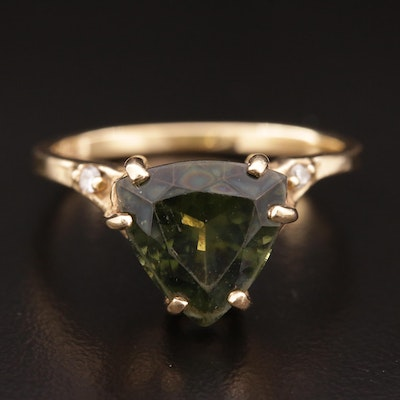 14K Gold Moldavite and Diamond Ring