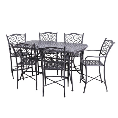 Metal High Top Patio Dining Table and Chairs, Contemporary