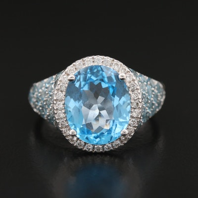 18K Topaz and Diamond Ring