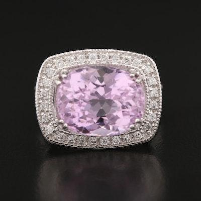 14K Gold Kunzite and Diamond Ring
