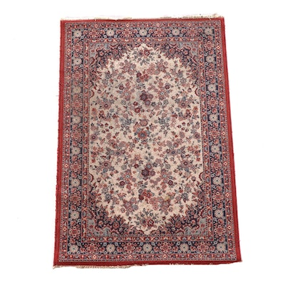 4'3 x 5'0 Machine Made Floral Wool Area Rug