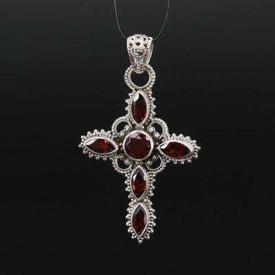 Sterling Garnet Cross Pendant