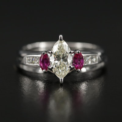 14K White Gold 1.00 CTW Diamond and Ruby Ring
