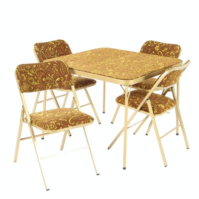 Patterned Velveteen Upholstered Folding Table Set