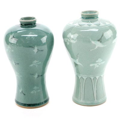 Korean Celadon Maebyeong Vases with Flying Cranes