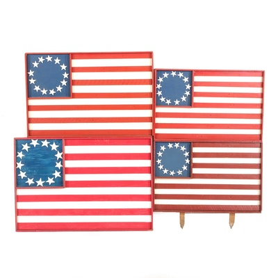 13 Star American Flag Acrylic on Wood Decor