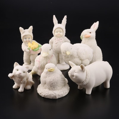 "Department 56 ""Snowbunnies"" and Easter Porcelain Figurines, Late 20th Century"