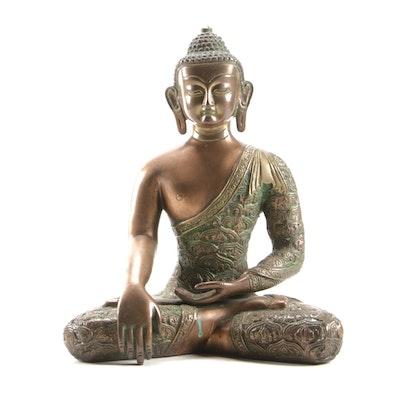 Gautama Buddha Verdigris Brass Statuette, 20th Century